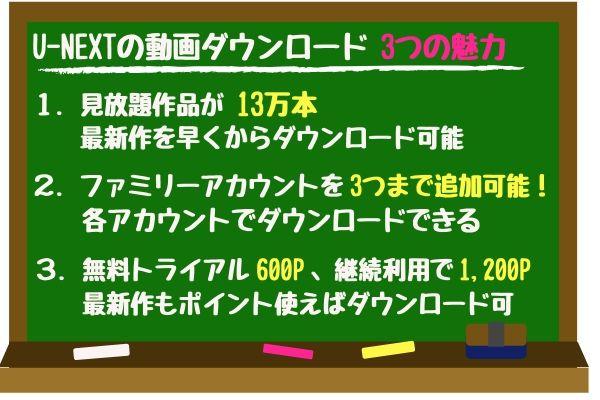 U-NEXTの動画ダウンロード3つの魅力