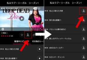 複数動画が含まれる作品の場合は、更にダウンロードしたい話数の「DL」をタップ