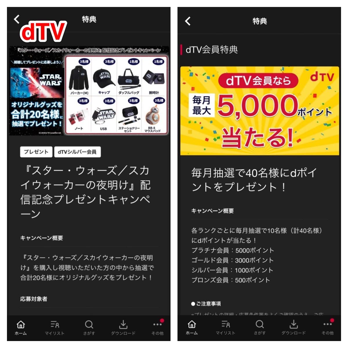 dTVのキャンペーン特典